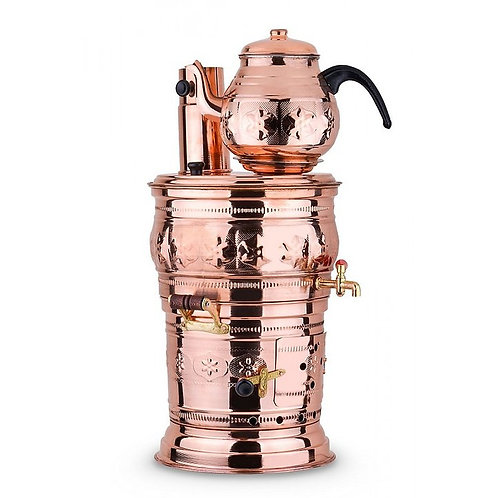 10 x TURKISH COPPER OVAL BIG SAMOVAR, WOOD