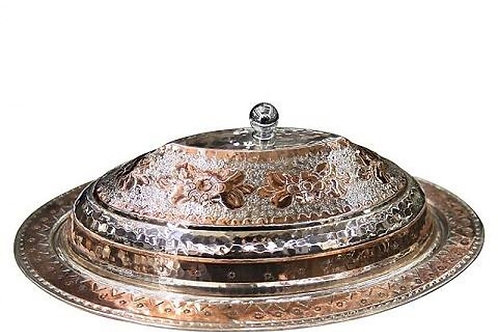 """10 x TURKISH COPPER SERVING PAN WITH COVER, 40 CM (15,74 """")"""