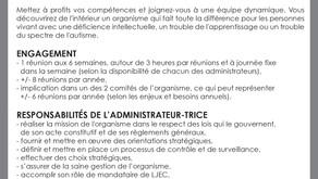 Offre de bénévolat... RecherchéE : administrateurTRICE Conseil d'administration