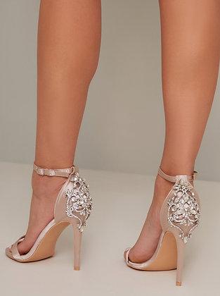 Sandales beiges à strass