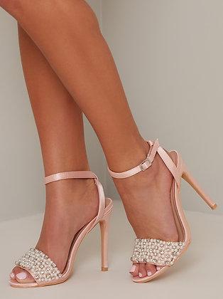 Sandales perlées à talon