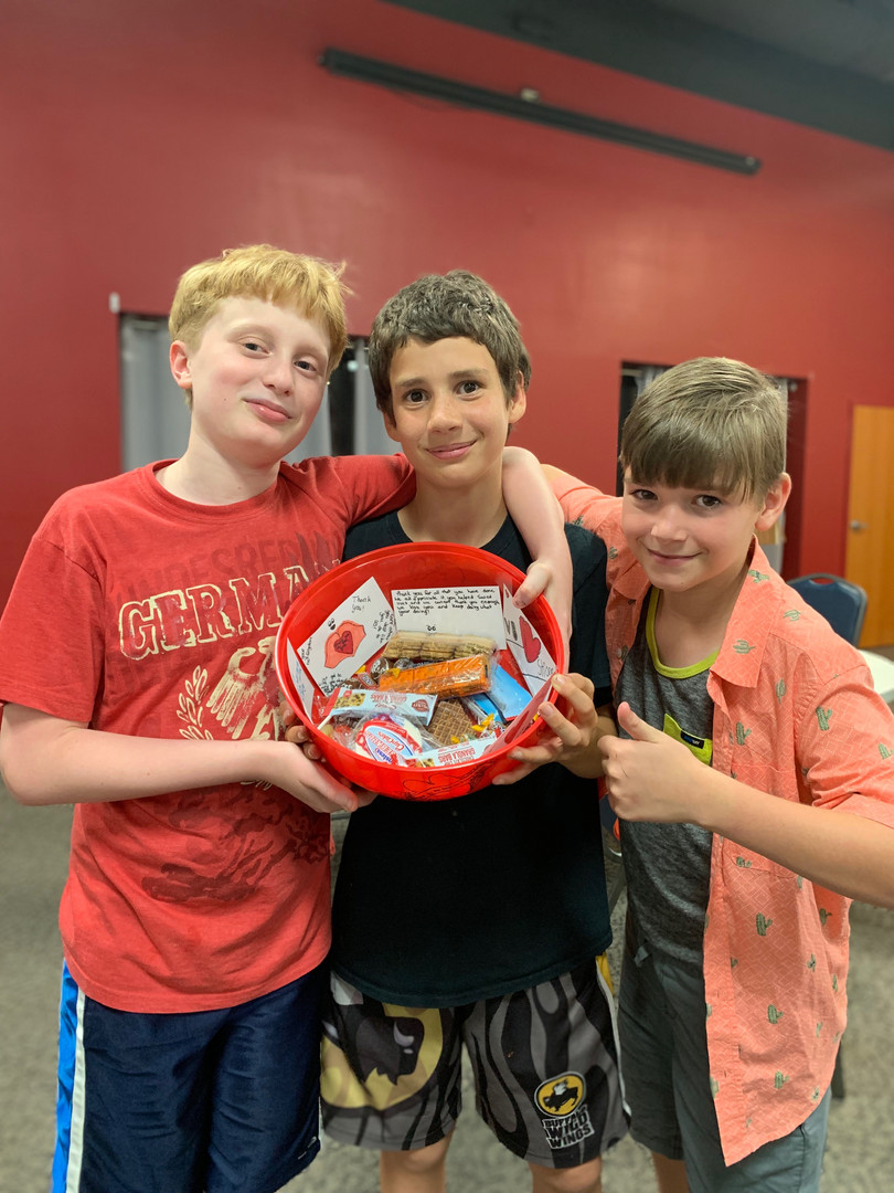 Jr. High gift basket making for local first responders