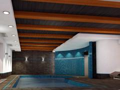 Общиф вид бассейна. 3Д гарафика