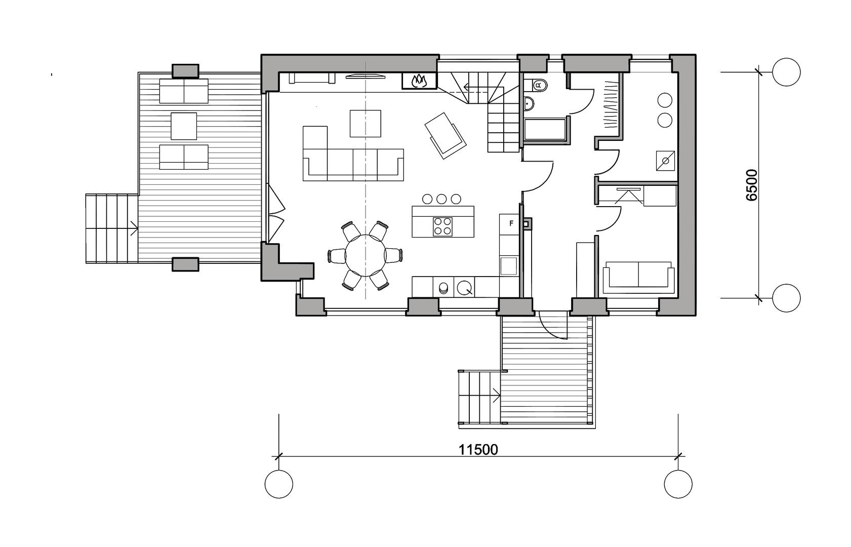 "Дом ""М"". План первого этажа."