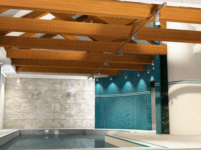 Общаяя вид помещения бассейна. Вариант с деревянными фермами