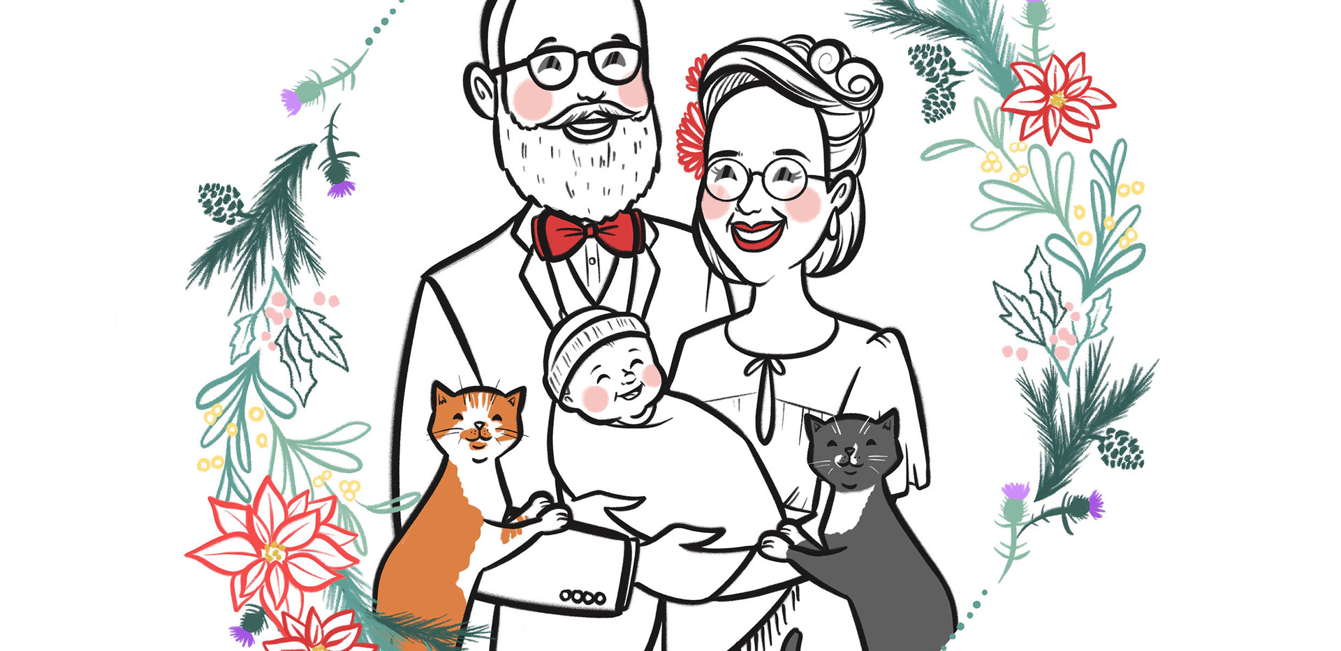 bw family portrait baby cats christmas.j