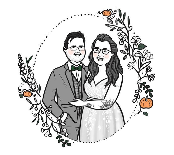 bw wedding portrait pumkin couple.jpg