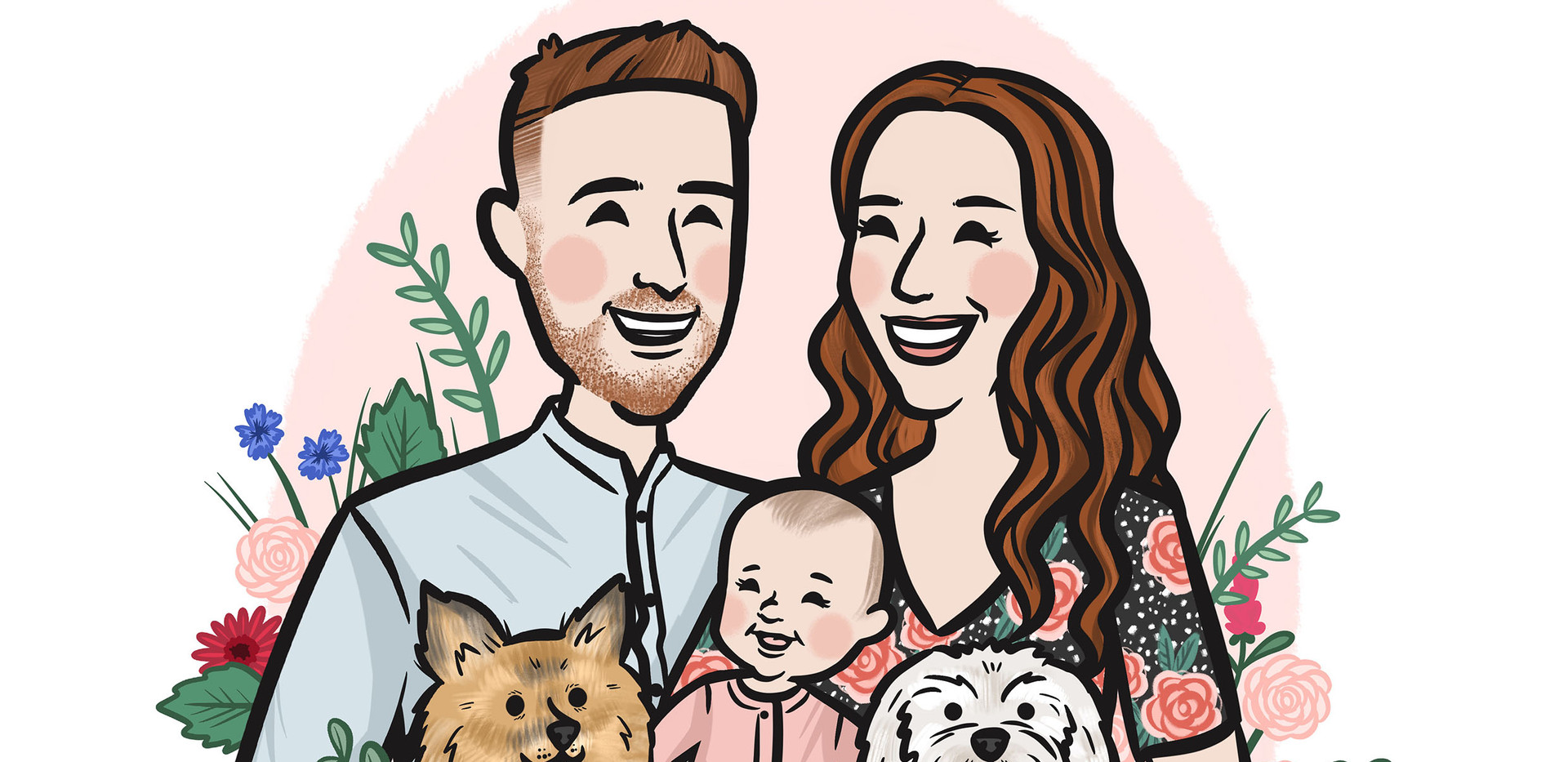 family portait floral dogs baby.jpg
