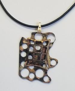 jewelry artist-lenor pisano-handcrafted steel-pendant
