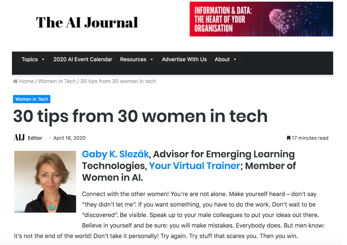 Featured as Woman in AI in The AI Journal