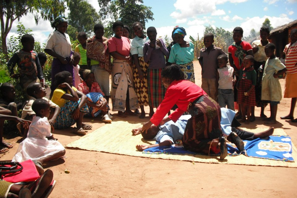 Community leaders teaching first aid