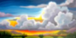 big sky prairie landscape art with farm, little red barn, harvest crop lines, sunny sky, clouds, origin windl acrylic art by Canadian artist
