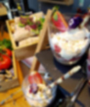Styled buffet wih wholemeal warps and Eton Mess