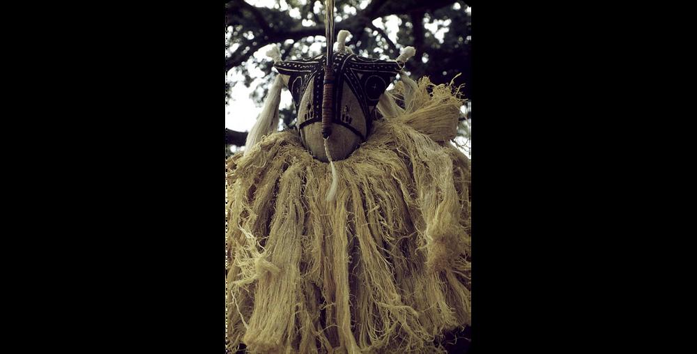 Masked performer at Tiebleke dance, Bin village, Mali. Credit E. Elisofon, SIRIS, 1962