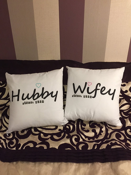 "Pair - ""Wifey"" & ""Hubby"" ""since. (DATE)"""