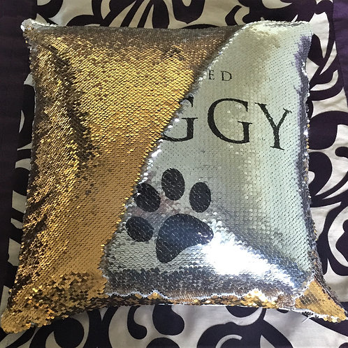 Magic Sequin Cushion Cover Black/Silver or Gold/Silver