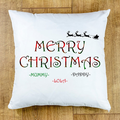Merry Christmas Personalised Cushion Cover