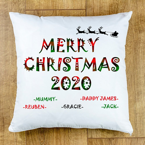 Merry Christmas 2020 Personalised Cushion Cover