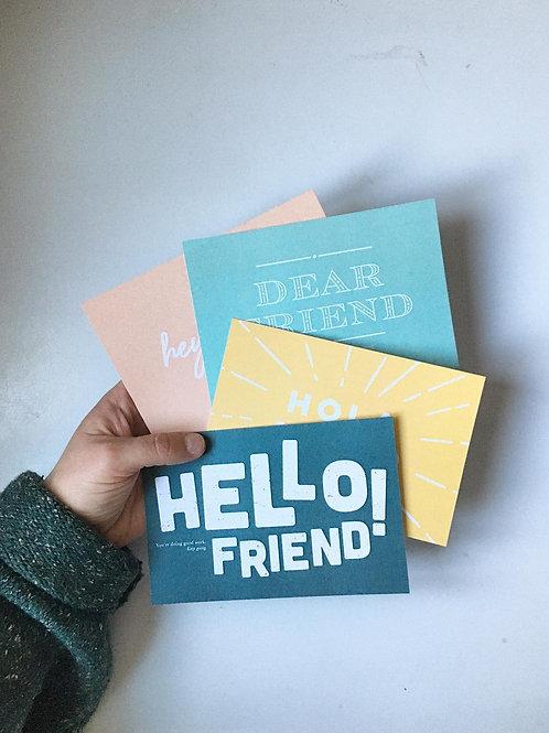 """Hi friend"" Postcard Pack"