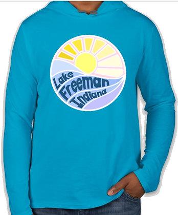 Long Sleeve Shirt w/Hood (Caribbean Blue)
