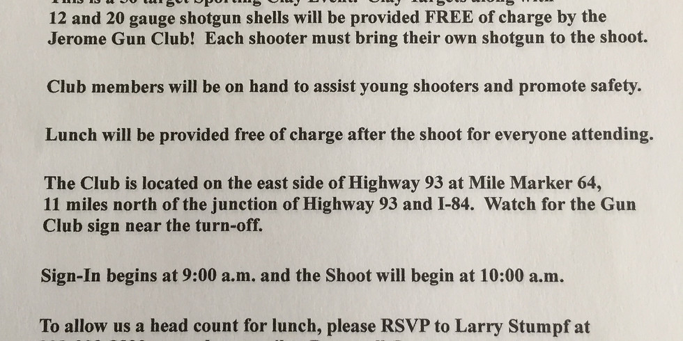 Annual Youth Sporting Clay Shoot