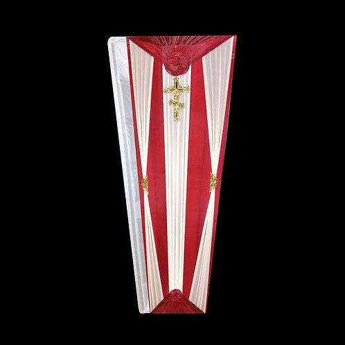 красно-белый бюджетный гроб фото