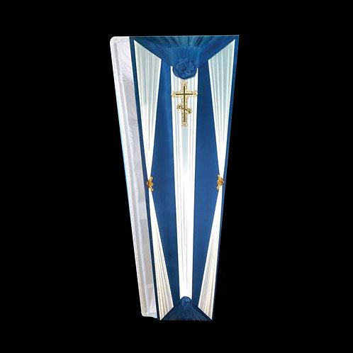 сине-белый гроб обитый тканью фото