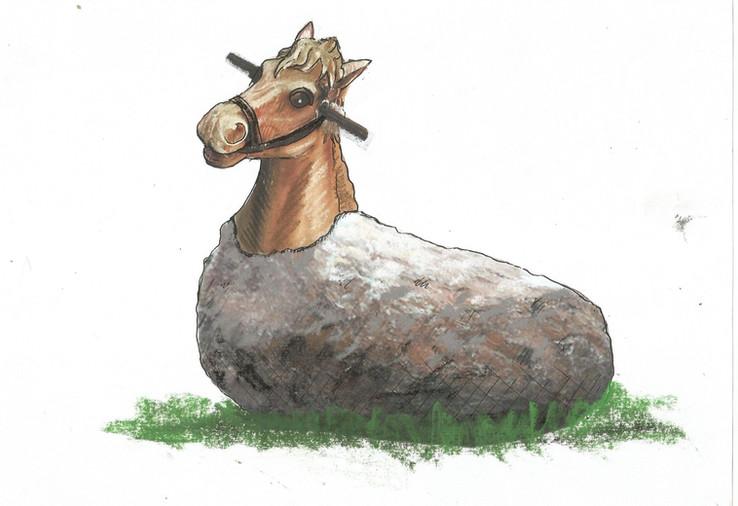 Stone Horse Sculptures