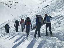 Winter trekking in the snow on a 4 Day Winter ascent of Toubkal