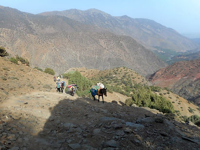 Trekking up from Tizi Oussem