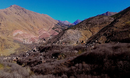 Imlil and the surrounding villages in the High Atlas Mountains of Morocco
