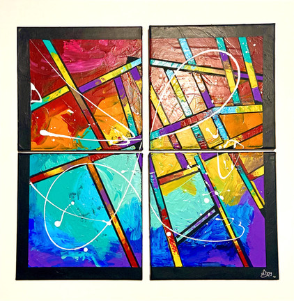 Abstract Tetraptych- Kaleido