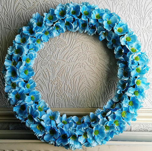"""20"""" Animals-Remembered Association Himalayan Blue Poppy Wreath"""
