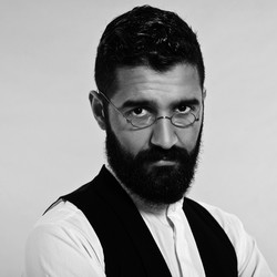 Amish bearded man in glasses BW