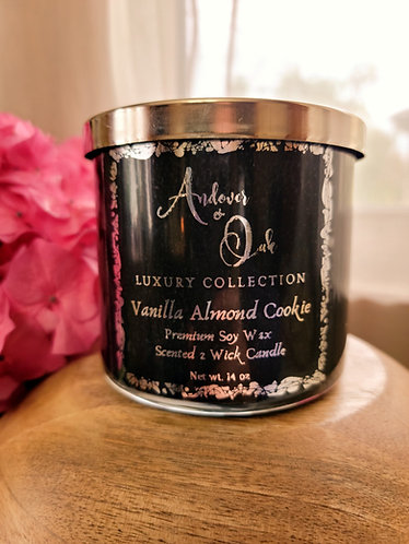 Vanilla Almond Cookie 2 wick Soy Candle