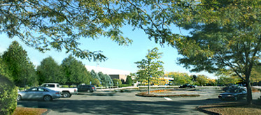 Campus parking lot w shade trees