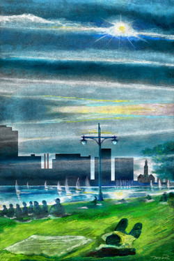ConTEMPOrary Impressionist Landscape NE  River City LAZY HAZY SUN Sunday