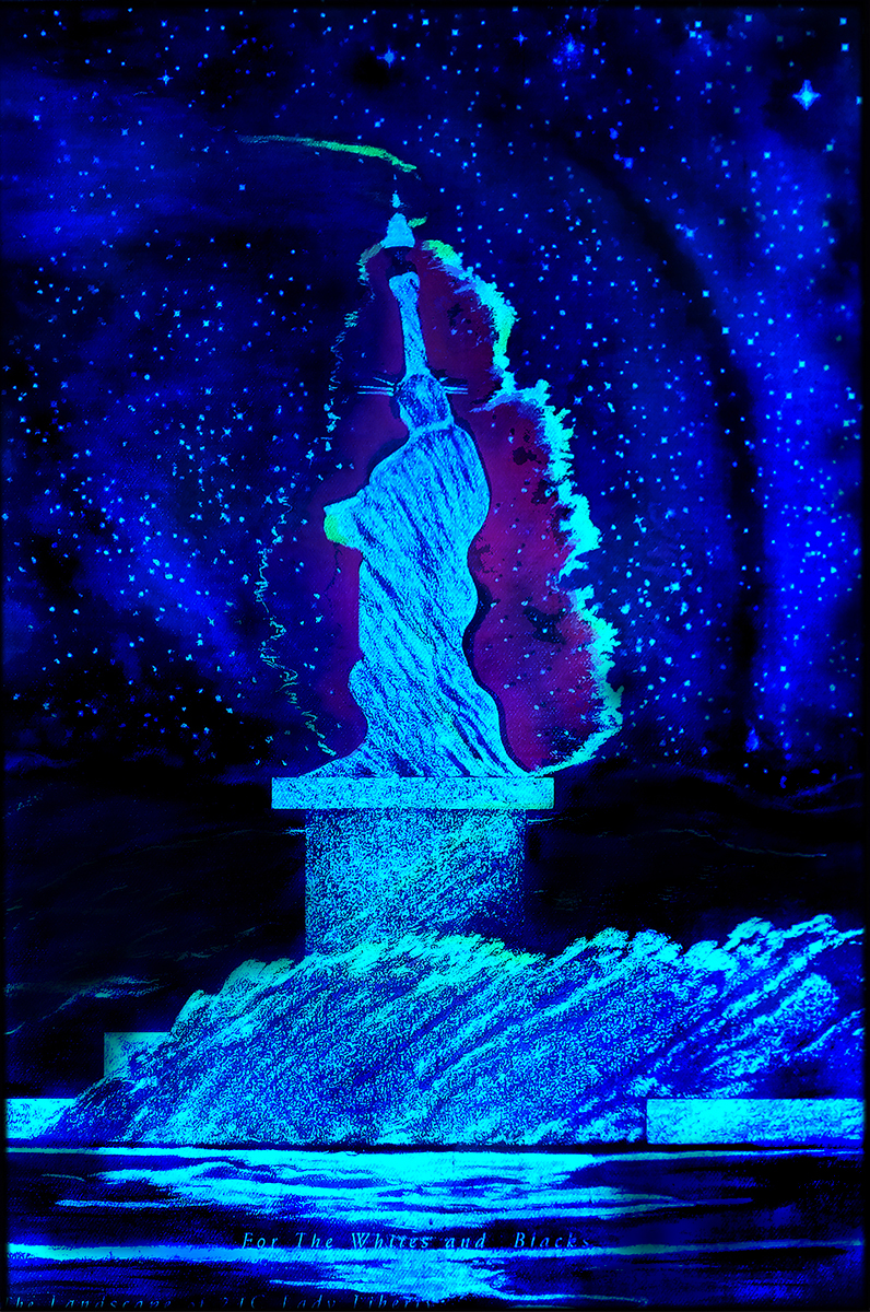 8 Blue  LED Liberty. Blacks Whites SheroesNY