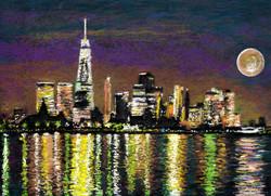 ConTEMPO ConTEMPOrary Art   Landscape Impressionist NYPxim City Moon I