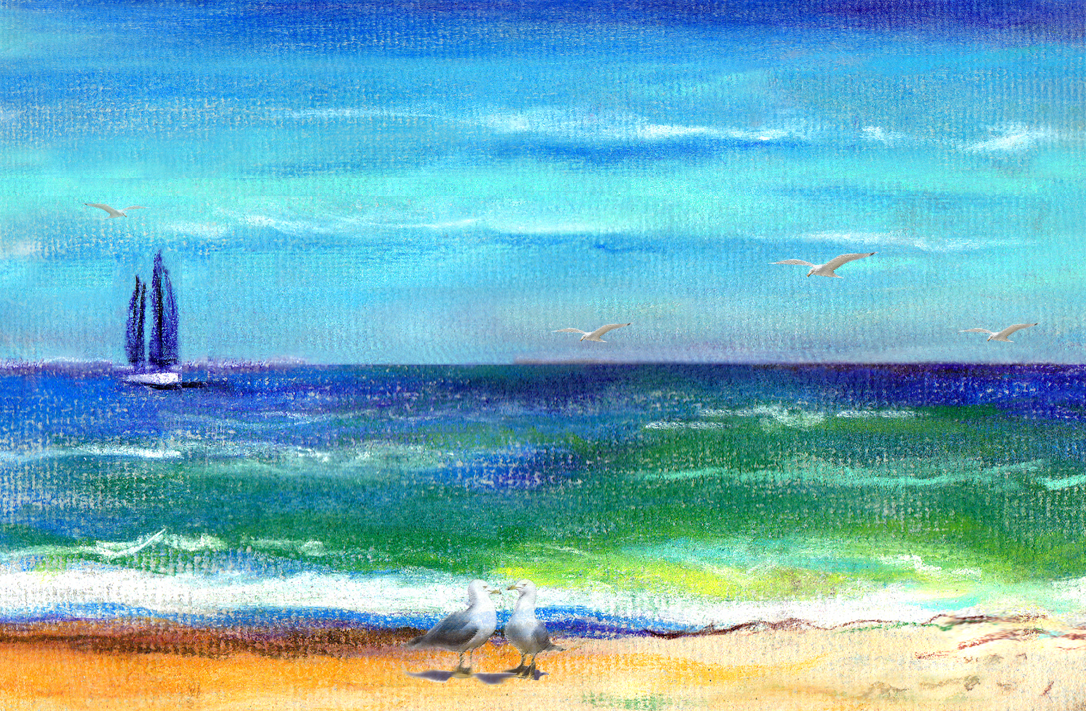 Pixel World Beach ConTEMPOrary  Impressionist Landscape NY