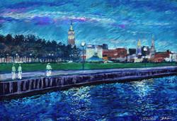 ConTEMPOrary Art Landscape Impressionist TWILIGHT VILLAGE_H. River NY
