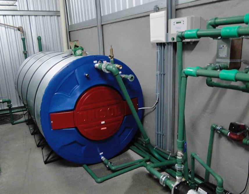 Cabine com reservatório de água