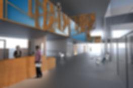 LED lysvæg med vandskåren skærm i elmefiner. Lyser i skiftende farver. 2,70m x 23m  Ankomsthallen , Nyt PsykiatriskSygehus, Sønderjylland.