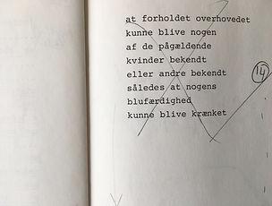 Uddrag af monolog '1 For Hor' 1987. Teksten tager udgangspunkt i artikler fra 'Ugeskrift for Retsvæsen'
