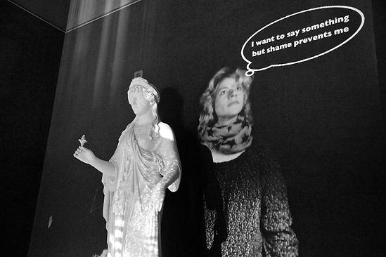 Interactive video installation, Thorvaldsen, Decembristerne på Thorvaldsens Museum, Håbets Gudinde, ansigtsgenkendelse, face recognition,