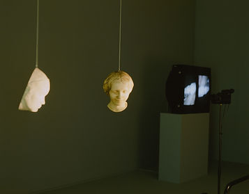 Interactive, closed-circuit videoinstallation.  Bidrag til gruppeudstillingen 'Inferno' Statens Museum for Kunst, 1993  Video monitorer, gipsmasker,ophængte og roterende vha.motorer i loft. Div. spots.  Videokameraet er rettet mod de to roligtroterende masker. Beskueren ledes ad passagen og placerer sig således imellem videokameraetog de to masker. Der opstår ogtransmitteres herved kontinuerligt foranderlige 'dobbeltportrætter'til de henh.horisontalt og vertikalt placerede B&O monitorer. 