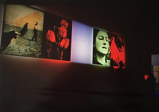 LANDSKAB MED RØDE BLOMSTER  Charlottenborg, 1990  Fotografi med indfarvet, afmasket lys 