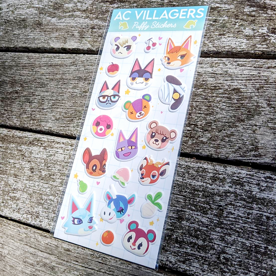 Animal Crossing Puffy Stickers