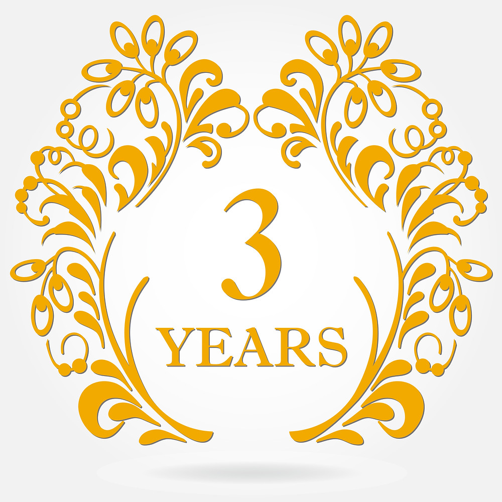 """The number """"3"""" to represent a 3-year anniversary, with decorative design"""