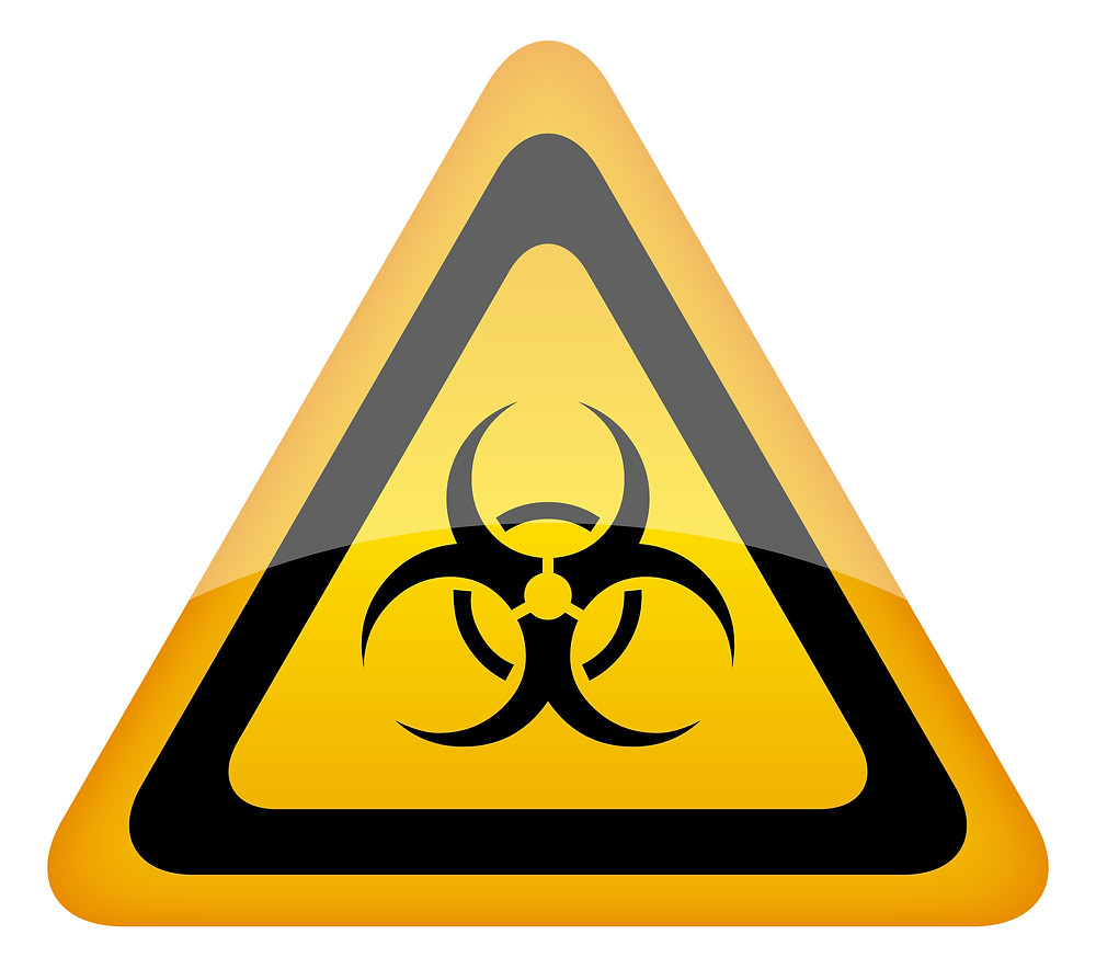 Yellow warning triangle with biohazard logo